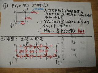 参考写真を添付します。  部材BGの応力の切断法による解法は、 添付写真①図に示してあります。...