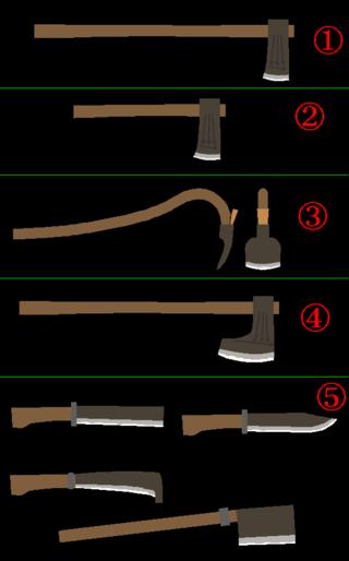 ①.これが斧です。 大きな丸太などを打ち割り薪などを作るのに使われます。...