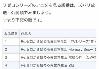 順番 リゼロ アニメ