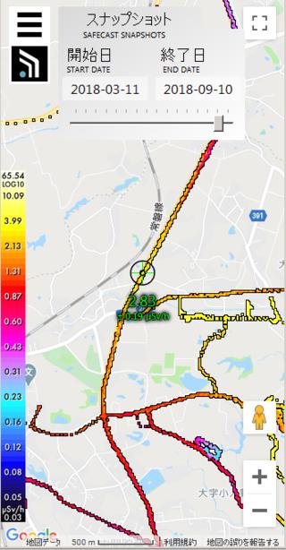 少し前のデータになりますけど 国道6号での最高放射線線量は0.19uSv/hですので...