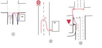 道路上の横断・転回について お詳しい方々、ご教示願います。   まず①において転回、横断に関する規制が無いとき 赤矢印の方法で右折し施設へ侵入するのは 問題ありませんでしょうか。私が思うに 歩行者が信...