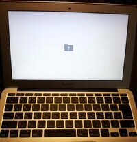 MacBook Airを立ち上げると、こんな感じで前に進みません。  写真などのデータを取り出しながら修復は出来ますか?  ご存知の方、お助けください。  どうぞ、よろしくお願いいたします。