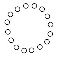 After Effectsのシェイプレイヤーについて初歩的な質問です。 円の形のシェイプを放射状(?)に配置するにはどうしたらいいのですか? リピーターで作りたいです。  (画像)こんな形です。雑ですいません。