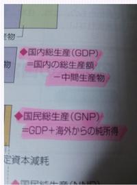 現代社会のGDP,GNPを求める公式についてです。 先日、授業で上の二つを求める公式を習ったのですが、先生の板書では、 GDP=GNP-海外からの純所得  GNP=総生産額-中間生産物  とありましたが、同じく授業で扱っている資料集では以下の写真のように   GDP=国内総生産-中間生産物  GNP=GDP+海外からの純所得  となっています。Webで調べると先生のと一致しましたが、資料集と...