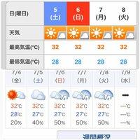 気象庁とウェザーニュースの天気予報がまるで違うのですが… ウェザーニュースは気象庁のデータをもとに発表していると思いますが 7/5以降の週間天気予報が発表されてから毎日チェックしていま すが平行です。 ここまで違うとどちらを当てにしていいか…  *画像:上ウェザーニュース 下:気象庁Yahoo 宮古島の天気予報より。