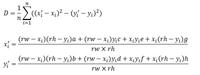 最小二乗法によるパラメータの求め方について質問があります。  添付画像の式Dを最小にするパラメータa,b,c,d,e,f,g,hを求めたいです。 点Pi(xi, yi) i=1...nを非線形変換により移動した後、移動前と移動後の距離を最小とするようにa,b,c,d,e,f,g,hを求めたいということです。  rw, rhは定数(正の整数)です。  数学の知識は、大学で微積分、線...
