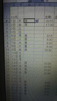 ExcelでC列のC2~C32の昼と夜を足して合計を日数としてC37に表示させたいのですがうまくいきません。どなたか教えてください。