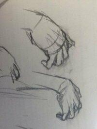 立体感のある手の描き方について 私は手や足を描くのが苦手です。 特に奥行きのある手を描くのが苦手で いつも平べったくなってしまいます。 コツなどあればおしえてください。