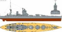 この画像の軍艦の名前を教えてください。 「軍艦」と画像検索して出てきたものなのですが詳細が全くわかりません。そもそも存在しているかどうかもわかりません。