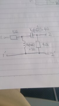 画像の四端子回路(二端子対回路) の問題でインピーダンスパラメータ(Z行列)はどうやったら求められますか?また、答えはどのようになりますか?教えてください!