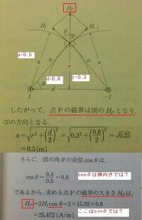 電験三種 理論の問題です。  多分問題集が間違えていると思いますので確認お願いします。 r=0.3m d/2=0.4m a=0.5m  H1とH-1の合成ベクトルはHp  だとすると点iのΘ角度と、点PのΘ角度は同じではないと思い...