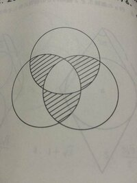 半径Aとする円が3つ重なった写真の斜線部分の面積を求める問題なんですが、A×A×π×60/360と答えにはかいています。なぜ60度の角度だとわかるのでしょうか? 回答よろしくお願いします!