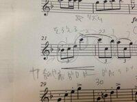 双頭の鷲の旗の下にのクラリネット1楽譜です! 21.22小節目のスラーのリズムどうしたらいいですか? 教えてください