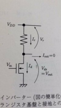 写真の抵抗負荷インバータにおいて入力電圧Vinが電源電圧VDDの場合の消費電力はどうなりますか?考えてもわかりませんでした^^;