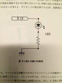 Arduinoを用いたLED点滅回路です。この回路に流れる電流が20mAの時、抵抗はいくつにすればよいのでしょうか? ダイオードの電圧降下は2.0V、電源電圧は5.0Vです。