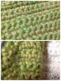かぎ編みの質問です。 表も裏も同じ編み目になるには、どうしたらいいですか? 写真上が表で、写真下が裏になります。