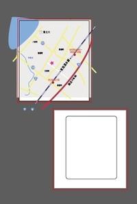 イラレ illustratorCC使用、勉強中です。 参照画像のように、別のアートボードでパスを使って作った絵を 下の、角丸四角の形にトリミング(クリッピングマスク) したいんですがうまくできません。  絵(地図...
