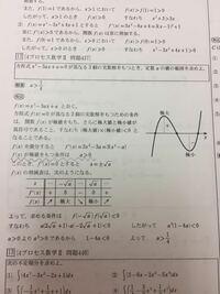 数学Ⅱです。微分です。波線部分のところがわかりません。f(x)が極値ををつために、なぜaが正である必要があるんですか?