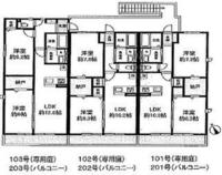 知恵コイン500枚☆家相風水 家相風水に詳しい方に教えて頂きたいです。 下の図のハイツだと、201号室か203号室だとどちらの部屋の方が良いでしょうか? 方位の絵が右下に載ってます。 宜しくお願いします。