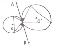 至急。数学です。 線分ABは円Oと円O'の共通接線であるとき、黒く塗ってある角はもう一つ黒く塗ってある角と等しいですか?