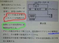 蛍光灯のグロースターターについて教えてください。  赤色部分、グローが閉じるとフィラメントが加熱するのは、「フィラメントが高抵抗な為、そこに通電することで発熱する」 という事でしょ うか?  緑色部分、水銀蒸気が生じるということは、室温時は水銀は液体となっているのでしょうか?  青色部分、衝撃電圧とはどういったものなのでしょうか?  教えてください。(^o^)