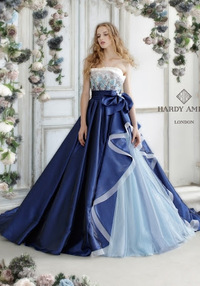 カラードレスの脇肉対策。 結婚式でウェディングドレスとカラードレスを着ることになりました。カラードレスの脇肉が気になって困っています。  写真のような青いカラードレスにタンクトップ のようなレースのボレロを合わせるのは変でしょうか? これなら脇肉が目立たないのでは??とおもったのですが.... あまり想像がつかないので、アドバイスをいただければと思います。  痩せることが一番早...
