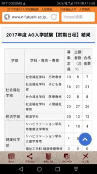 大学、AO入試について。 今年、日本福祉大学の社会福祉のAOを受けようと思っているんですが、 学校の先生からはAOは合格率が低いと聞きました。 しかし、日福のAO合格倍率をみると(1'1 、1'0)などと記載して...