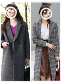 ファッション コーディネート どっちがおしゃれに着こなせる? チェックのコートです。  どちらがおしゃれに着こなせると思いますか?  左はVisのもので、黒ベースにうっすら赤いラインが入っているチェックです...