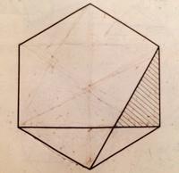 この算数の問題の解き方を分かりやすく解説していただけますでしょうか?  問い) 図の正六角形の面積は180㎠です。斜線をつけた部分の面積を求めなさい。 ※比を使った解法でお願い出来ます でしょうか