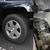 jeep jkラングラーについて質問です。  タイヤ交換(255/70R18→285/65R18)のためにはリフトアップが必要ということでショッピングサイトに記載されていたのですが、車両購入時に中古で購入した ため現状のリフトアップの有無が不明です。採寸等でリフトアップの有無を確認する方法はありますか?また、写真で判断できる方は添付写真を参照願います。