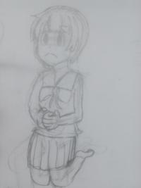 (違和感)前回の反省を踏まえて、膝を曲げて座ってる女の子を描きました。なにか違和感がある箇所をお聞かせください。びしばし言ってもらっても結構です。