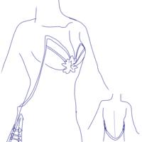 コスプレ時の「胸」について。 ご質問させて頂きます。 以下↓絵の(イラスト適当ですみません。) 服装をコスプレしたいのですが  おっぱいインナーを着用しようと考えています。 其の場合 背 中と首に紐が付く...