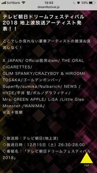 テレビ朝日ドリームフェスティバル2018 12月15日土曜日の26時30~28時は 名古屋でも放送されますか?
