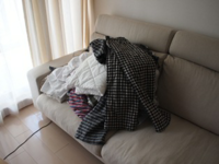 洗濯物(洗濯した物)って 一旦 ソファーの上に置くのが 一般的なのですか?    洗濯物(洗濯した物)って 一旦ソファーの上に投げ出すのが 一般的なのですか?