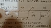 中学の理科の問題です!! なめらかな斜面上に力学台車を置き、静かに離した実験です。 このテープは1秒間に60回打点する記録タイマーで、記録したテープです。