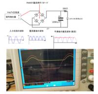 信号発生器から0.1Hz7Vの正弦波を全波整流回路にいれ、コンデンサで平滑しました。 回路図は以下です。 そして、入力波形(赤い波形)と、コンデンサの+とGND間の電圧(黄色い波形)をオシロスコープで観測しました。 それも下図にあるのですが。 入力波形とコンデンサの+とGND間の電圧波形が重なりません。 入力波形は全波整流回路のプラスと-にプローブを繋いでいますが、 コンデンサの+...