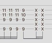 ギターの楽譜で((6弦9f 5弦はミュート 4弦9f 3弦11f 2弦11f 1弦はミュート))→((6弦9f 5弦はミュート 4弦9f 3弦10f 2弦9f 1弦はミュート))というものがあり、コードチェンジの仕方がわからないのですが、誰か分か...