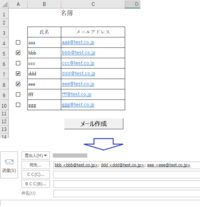 VBAでメール作成(選択した複数の宛先へのメール作成)  ExcelのVBAを使用してOutlookのメールを作成したいのですが、初心者のため上手く動きません。 想定している動作は、以下のExcelを例として、チェックボ...