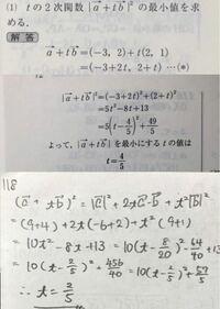 解答の間違いの指摘をお願いします。 [問題]a(→)=(-3,2)、b(→)=(2,1)、c(→)=(3,1)とする。 (1) |a(→)+t b(→)| を最小にするtを求めよ。 手書きの方が自分の解答です。