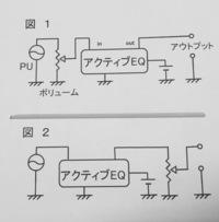 パッシブベースへのオンボードプリアンプ組み込みで疑問があります。サーキットに詳しい方からのアドバイスをお願いします。 慌ててドローした図でゴメンなさいなんですが、一般的には図1のよ うにパッシブ回路のトーンを取っ払ってアクティブイコライザ(プリアンプ)を入れますが、これだとピックアップの本来の周波数特性がボリュームポットで色付けされた上でイコライザに入っていることになりませんかね? 図2...