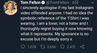 トム・フェルトンの旭日旗Tシャツについて 画像での質問失礼します。 この画像のトムはなんて言ってるんですか? 誰か訳してください..