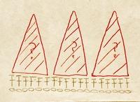 かぎ針編みで鎖編みや長編みなどに三角形を編みたいのですが上手くできるやり方が思いつきません。 画像のように長編みなどに長細い二等辺三角形を連続していくつかつけたいのですが…。  長 い立ち上がりを編んで立ち上がりに細編み→中長編み→長編み→長々編み→…と天辺から編んでいくのを試してみましたが底辺に行くとゆるゆるになってしまい、不恰好な三角形になってしまいます。 細編み→中長編み→長編...