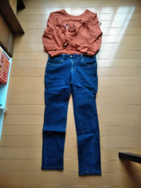 この組み合わせどう思いますか? くすみオレンジのショート丈トップス (裾ゴム入り、袖が編まれているもの) 濃い青のジーンズ  この組み合わせはお腹が出るギリギリです  これに黄色のLeeのキャンパスバック、...