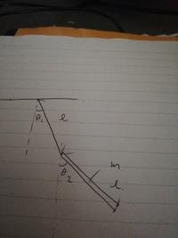 ひも(質量0)と棒(一様な密度の質量m)で出来た二重振り子の問題について質問です ラグラジアンを求めるために運動エネルギーを求めたいのですが棒の運動エネルギーは重心の運動  1/2m((lΘ;+l/ 2lΘ2')^2) (l=ひ...