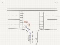 左折時の交通ルールについて質問です。 画像のT字路の横は片側二車線、縦は高速道路の出口で左折専用レーンと右折専用レーンにわかれています。 左折後すぐにとても交通量の多い横断歩道があり、左折待ちの車は...