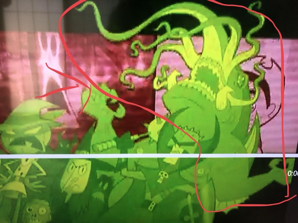 カートゥーンネットワークでやっている、ビリーアンドマンディというアニメのオープニングに出てくるこのキャラの名前がわかる方教えてください! 赤い線で囲まれている怪物みたいなキャラです 。よろしくお...