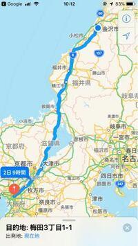 石川県金沢市から大阪市内まで、原付で行きたいのですが、詳しいルートを教えて頂けませんか?よろしくお願いします。このルートでは厳しいでしょうか?