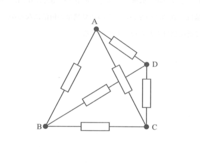図のABCDの各辺に1kΩの抵抗が繋がれている。頂点AD間の合成抵抗は何kΩか。 考え方と解答を教えてください! お願いしますm(_ _)m