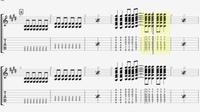 ギターTAB譜について  最近ギターを始めたのですが、写真の444464など縦並びになっているところが何コードになるのかわからず、どのように押さえたらいいの全くかわかりません。 その左の部 分がEmコード、Am...