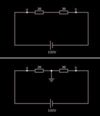 直列回路の問題です。割と基本的なところで引っかかっています。  図の回路は、100Vの電源に20Ωと30Ωの抵抗を直列につないだものです。 上の回路は接地無し、下の回路は接地ありです。 両回路共、20Ωの抵抗で...